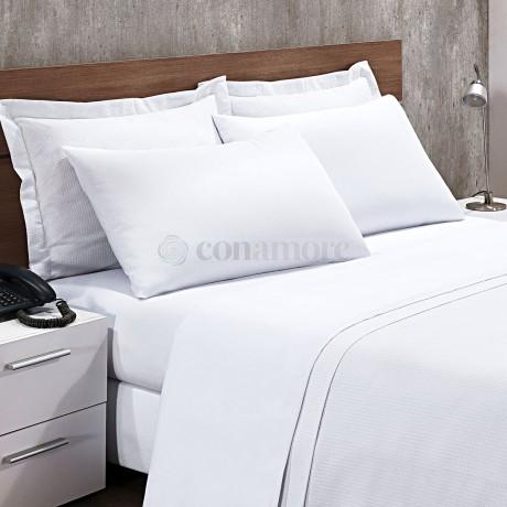 Lençol Casal 140x190x15cm BRANCO COM Elást 150 Fios 100% Alg - Quality